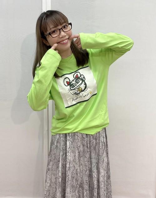 「Ms.招き猫★ロングTシャツ」ライムグリーン【XLサイズ】