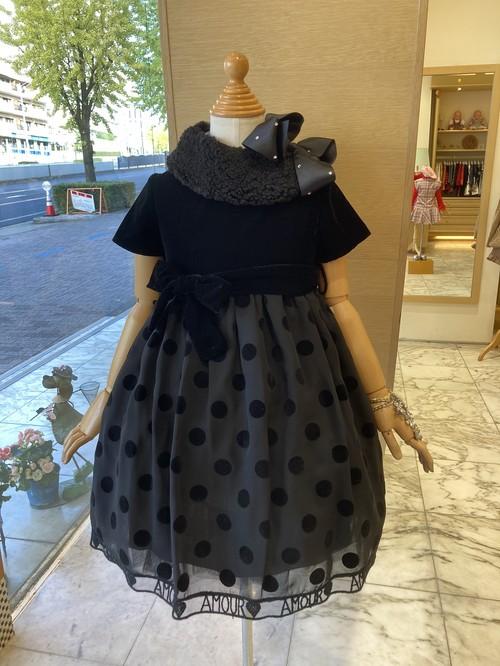 SpecialDay ベロアブラックドレス(パニエ付き) 8才(130㎝)