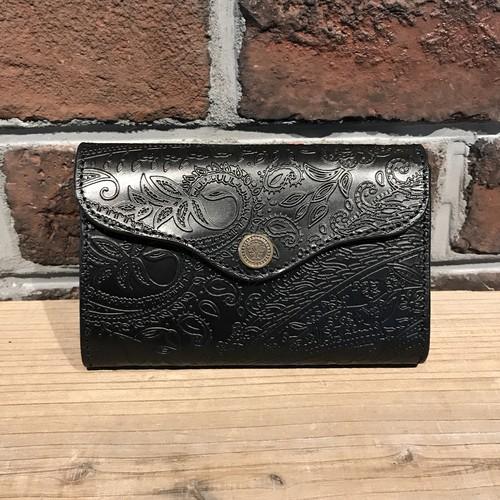 三つ折りハーフ財布 ペイズリー革 Black