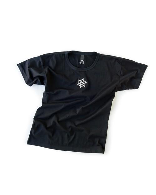 Tシャツ1号 「鱗廻刺繍」 黒