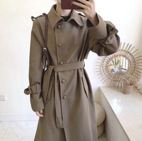 ラウンドボタンロングコート コート ロングコート 韓国ファッション