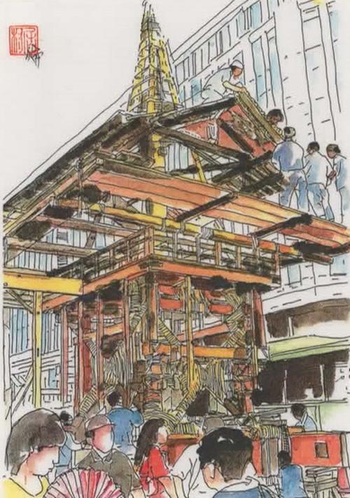 「水彩画ミニアート」京都 祇園祭 山鉾建て