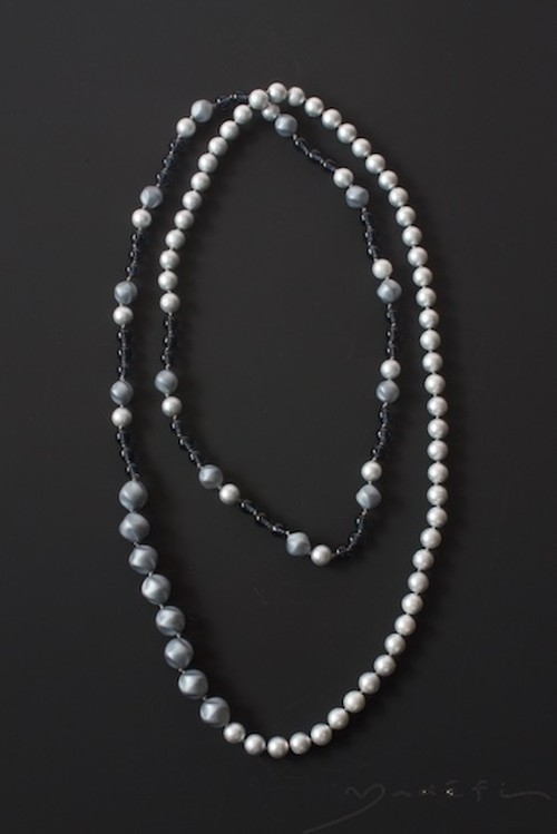 yn025_コンテンポラリー・ネックレス<Blue/Grey/Pearl>