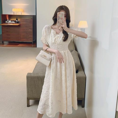 【dress】高級感 エレガントオシャレVネックチュニックデートワンピース M-0529