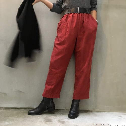 Wine red easy cropped pants
