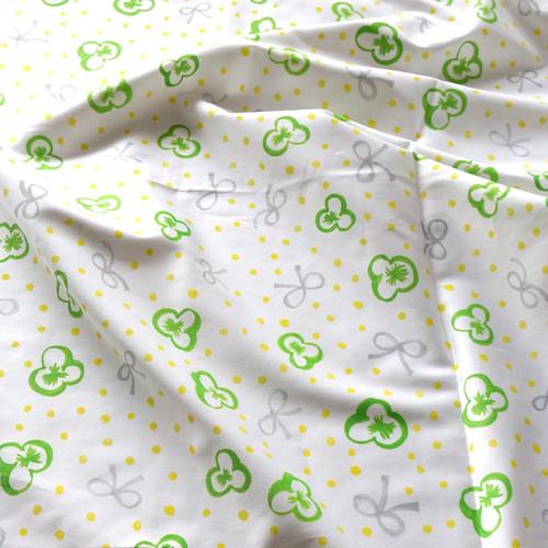 スミレとリボンと水玉 (green-grey-yellow) オーガニックコットンサテン生地10cm単位 (幅142cm)