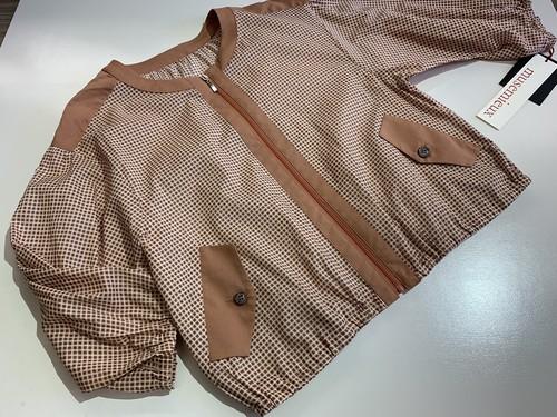 ◆【musemieux】21003 先染めスクエア柄配色 綿100%七分袖ブルゾン◆