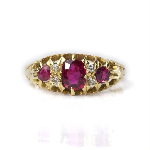 Victorian Three Stone Ruby Diamond Ring