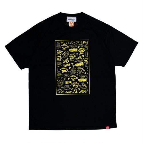 【bassmania×GEECRACK】ランダムロゴ dry UV Tシャツ [BLK×N.YEL]  [限定生産] [8月上旬配送]
