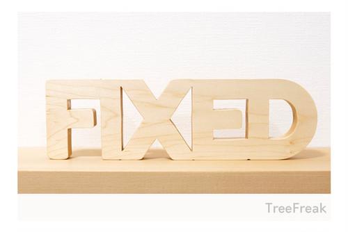 FIXED/フィックスド 木の切り文字 インテリア (固定ギア ピスト フィックスギア FIX ロードバイク MTB 自転車)