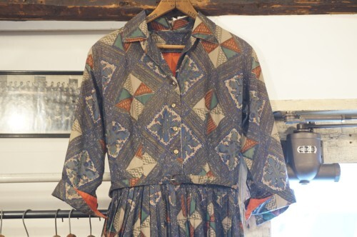 50's abstract printed belted shirt Dress