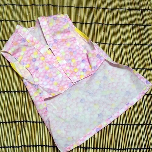 ニャンコ服リボン付・シャボン玉模様ピンク
