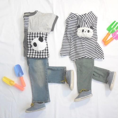 双子ベビー服2枚セット ミックスツイン 半袖レースパンダ袖チュニックとパンダアップリケTシャツ(モノトーン)<19ss-mt004r-H>