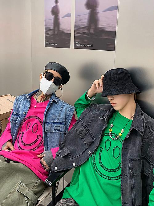 ★UNISEX スマイルエンブロングTシャツ(Pink,Green) 95
