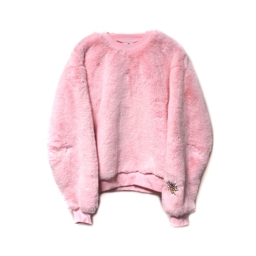 【SOMEWHERE NOWHERE】EDELWEISS FAUX FUR SWEATER pink