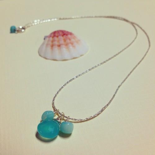 Sea blue calcedny *シルバーネックレス