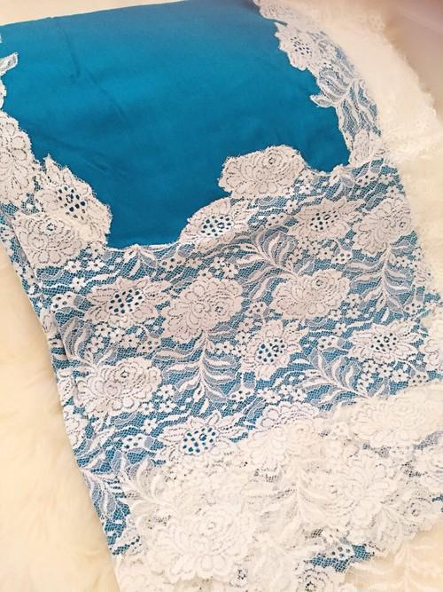Miry's オリジナルストール(ブルー x ホワイト)