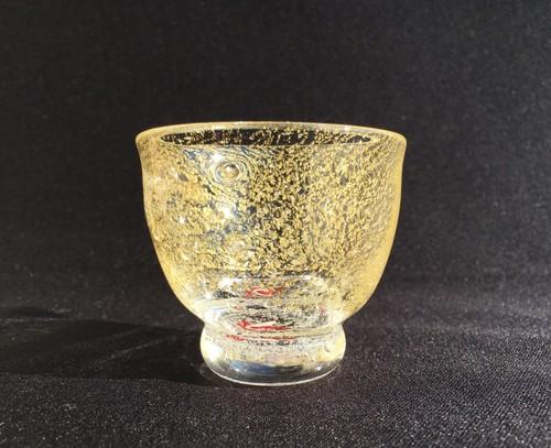 麻炭ガラス『オーロラ銀河紅白(GOLD)桐箱入り/酒盃』