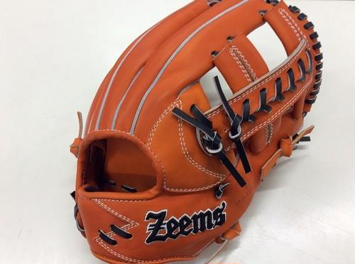 【限定モデル ラベル直接刺繍】ZEEMS 硬式内野手用 三方親シリーズ オレンジ Zeemsロゴ直刺繍 【型付け済】