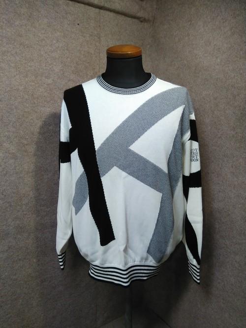 【HARDY AMES/ハーディエイミス】 ニットカットソー 薄手セーター 黒×白×グレー L hs24【送料無料】古着