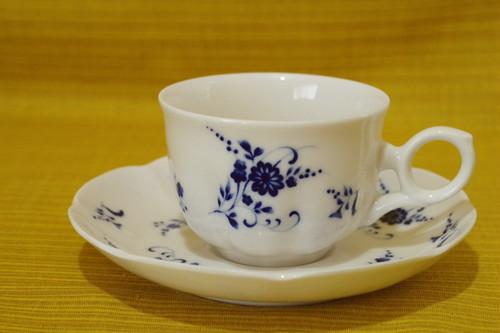 ROYAL SONE   日本製 ブルー 花柄 カップ&ソーサー コーヒーカップ ティーカップ 昭和レトロ 古道具