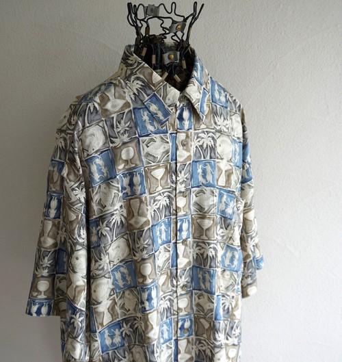 1990's [CAMPIA] リゾート柄 S/S レーヨンシャツ ブルー×ブラウン×チャコール 表記(M) アロハ ハワイアン