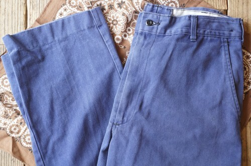 """90's EAGLE WORK CLOTHES cotton twill work Pants """"LITE NAVY"""""""