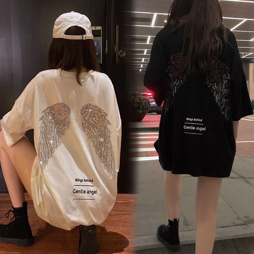 【★送料無料★】 天使の羽 Tシャツ スパンコール 半袖 ラウンドネック 韓国ファッション レディース かわいい シンプル ガーリー ルーズ ストリート DTC-619325301163