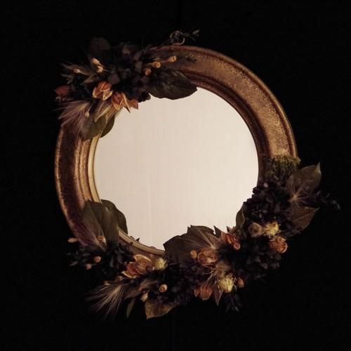 Black hydrangea mirror vintage