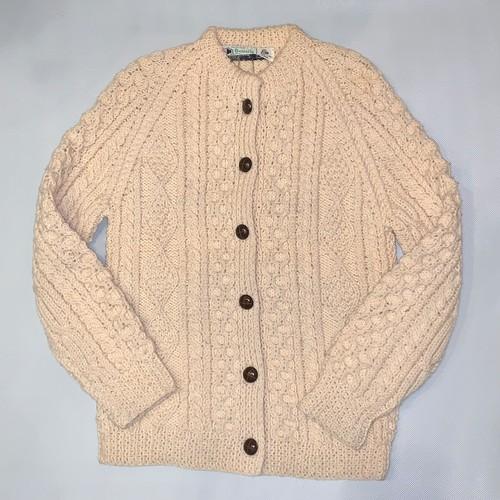アランニット カーディガンPure New Wool *Made in IRELAND*アイルランド製*Hand knit*used