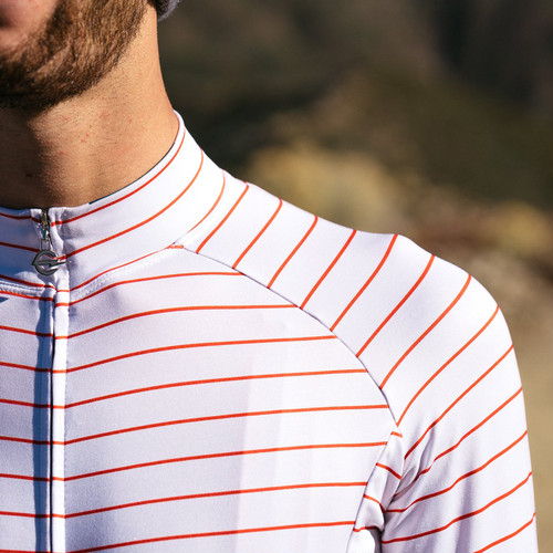 TEAM DREAM BICYCLING TEAM / Thin Stripe Long Sleeve / WINTER WHITE/RED