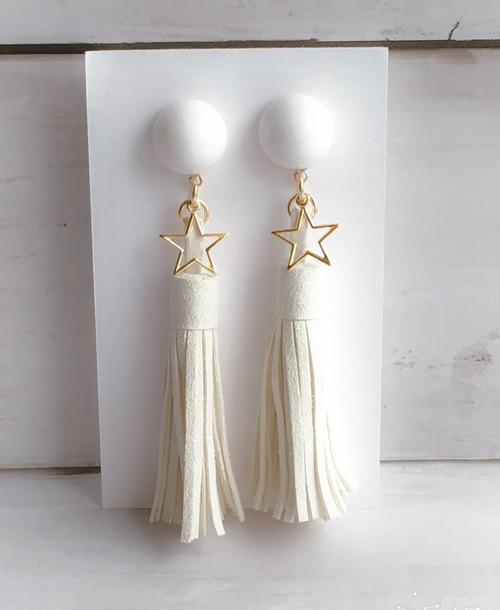 【star ホワイトロングタッセル チタンピアス】orイヤリング