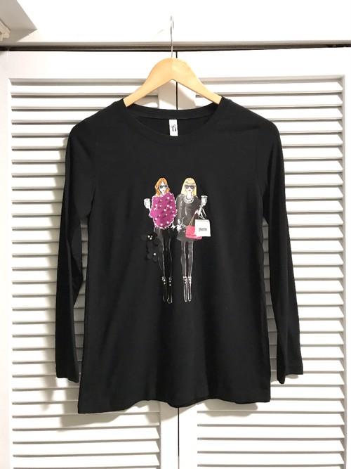 おしゃれ女の子柄ロングTシャツ③ ブラック