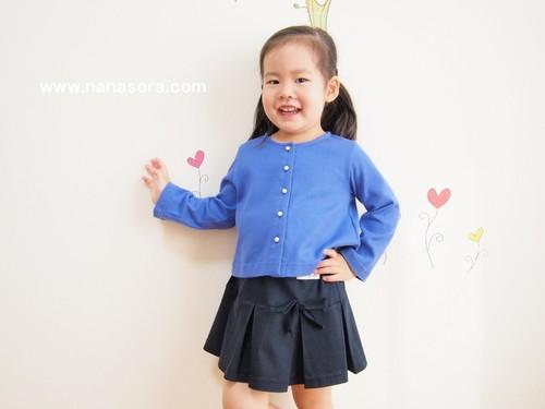 子供服でもパールボタンでおしゃれに。 パールボタンカーディガン ロイヤルブルー