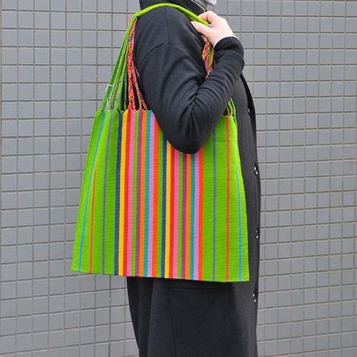 メキシコ織物バッグ(マルチストライプ柄)D