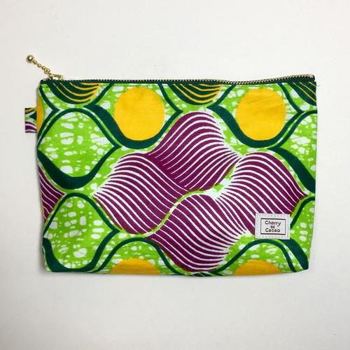 ポーチ アフリカンテキスタイル(日本縫製)「レモン」ライトグリーン イエロー パープル  アフリカ エスニック ガーナ布