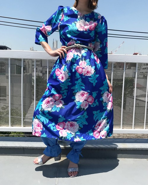 Vintage blue rose print dress ( ヴィンテージ  ブルー バラ柄 ワンピース )
