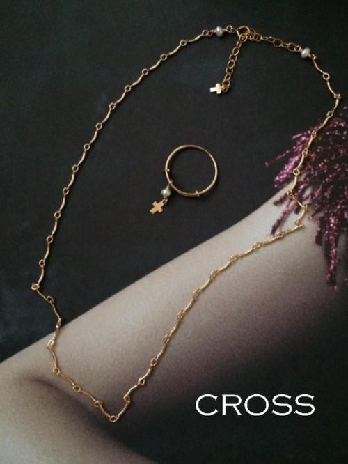 【Set】クロスチャーム ネックレス&リング 2点セット