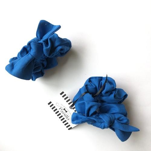 KIDS&MOM ブルーのclassicalシンプルシュシュ (S108)