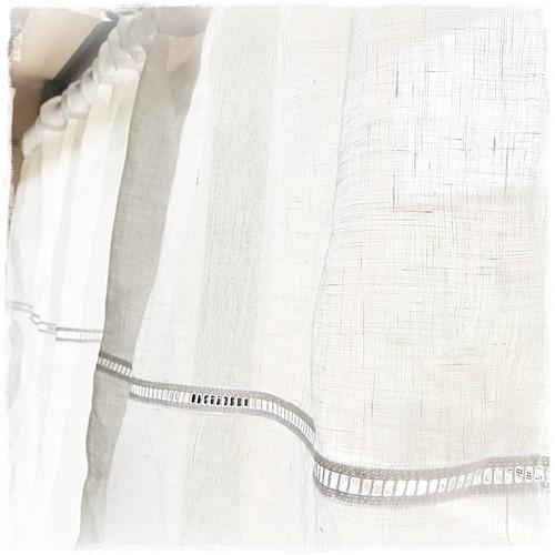 ♥リネンガーゼ*【はしごレース付き】ロッドポケットカーテン W186×H70   現品限りセール