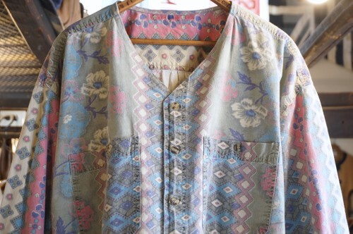 80's floral printed cotton no-collar Y-neck Shirt