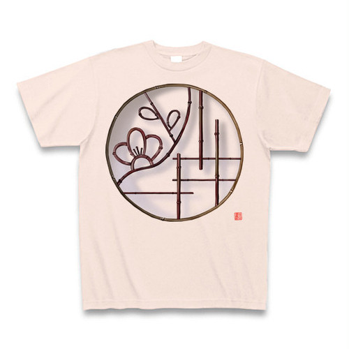 Tシャツ 丸窓(梅)ライトピンク -bakikeda-