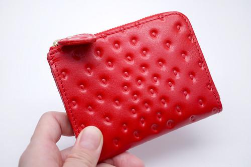 【アウトレット】薄型!いちごなL字ファスナーミニ財布(牛革製)/「プチいちご」引き手タイプ