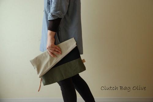 倉敷帆布*A4サイズのクラッチバッグ<オリーブ(限定モデル)>