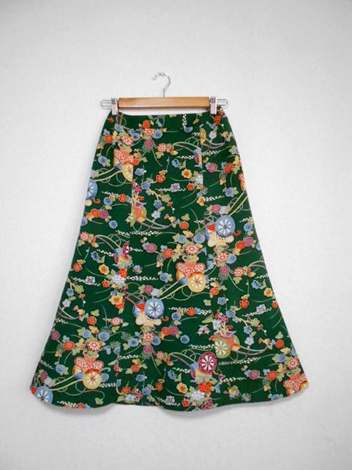 レトロ小紋の着物スカート Kimono Skirt  WS-008/S