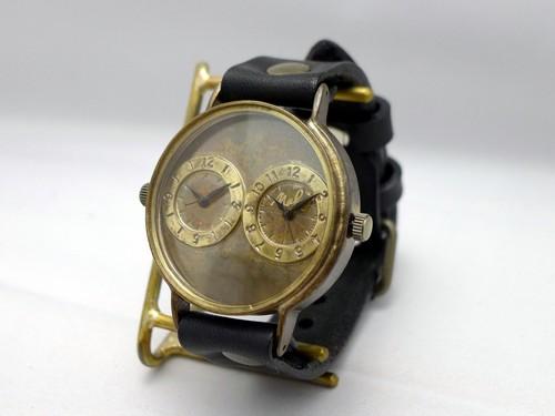 """手作り時計 Hand Craft Watch """"Dual-MEGA"""" JUMBOサイズ デュアルタイム [JUM141 BK]"""