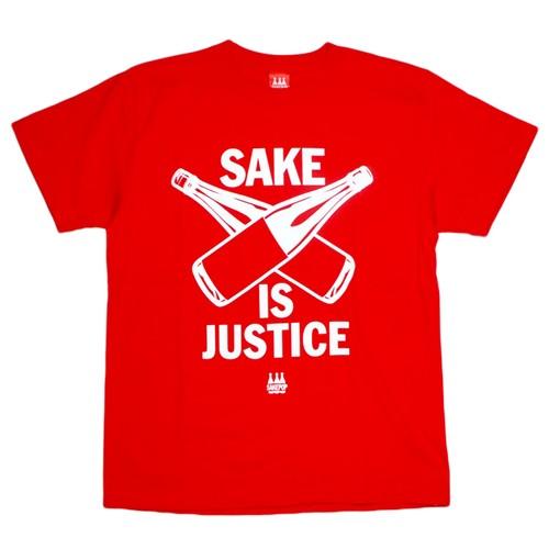 【SAKE Tシャツ】SAKE IS JUSTICE / レッド