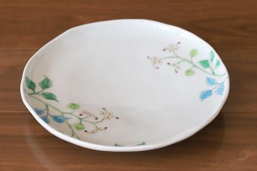 藍水 フウセンカズラ 6寸皿 直径約18cmパン皿に使える大きさの器 うつわ藍水(波佐見焼)