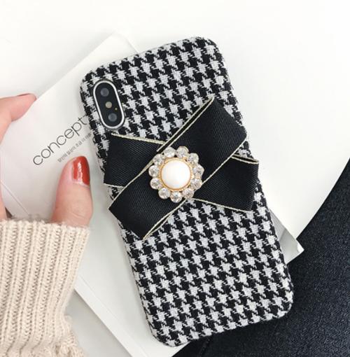 【予約商品、送料無料】千鳥格子チェックのケースにリボン付iPhoneケース