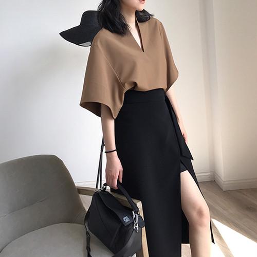 【セットアップ】新作ファッション人気着瘦せシャツ+スリットワンピース2点セット